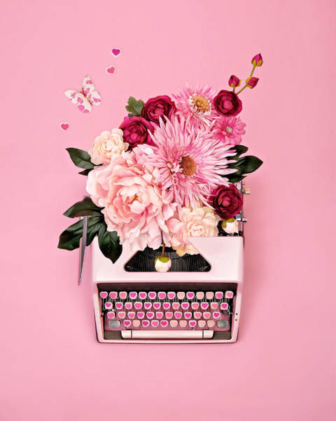Love Notes Wall Art - Photograph - Vintage Typewriter With Flowers by Juj Winn