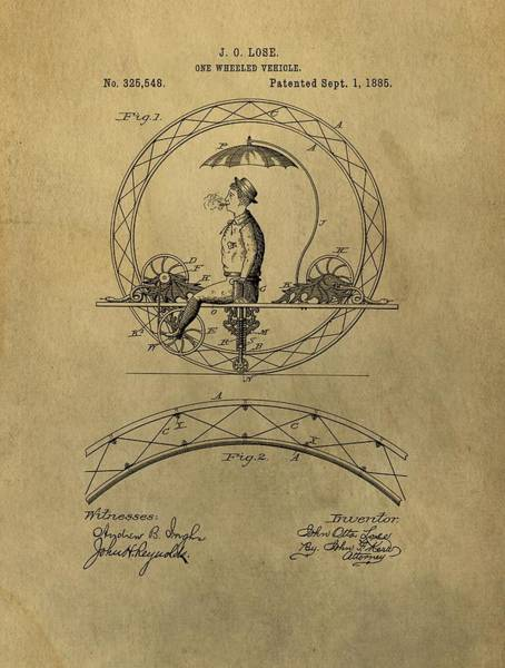 Toy Mixed Media - Vintage Unicycle Patent by Dan Sproul