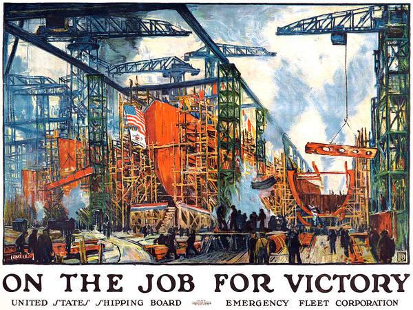 Shipping Digital Art - Vintage Us Shipping Poster by Gary Bodnar
