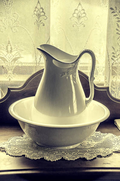 Doily Wall Art - Photograph - Vintage Vase And Basin by Julie Palencia