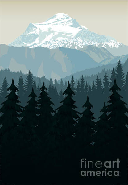 Snow Digital Art - Vintage Vector Mountains Forest by Savejungle