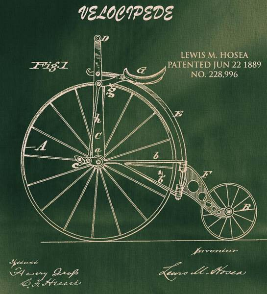 Drawing - Vintage Velocipede Patent by Dan Sproul