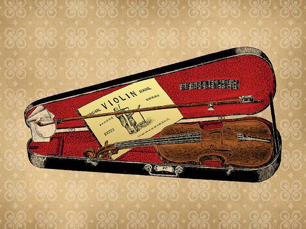 Wall Art - Digital Art - Vintage Violin Illustration by Flo Karp