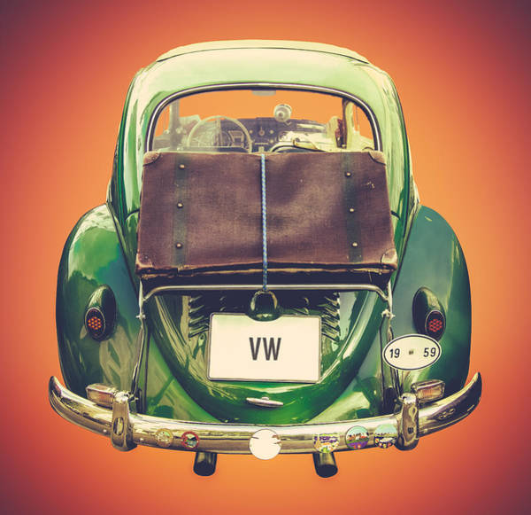 Wall Art - Photograph - Vintage Volkswagen Beetle With Suitcase by Mr Doomits