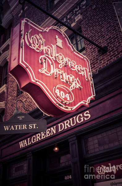 Photograph - Vintage Walgreen Drugs Store Neon Sign by Edward Fielding