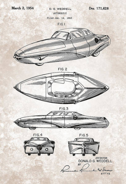 Painting - Vintage Weddell Automobile Patent From 1954 by Celestial Images