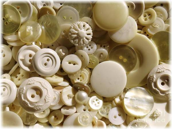 Wall Art - Photograph - Vintage White Buttons by Carol Groenen