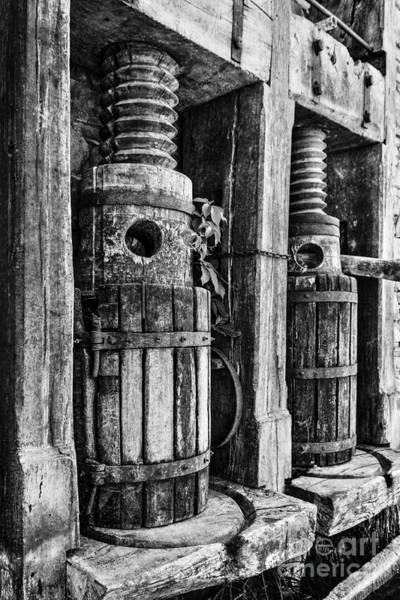 Vintage Wine Press Bw Art Print