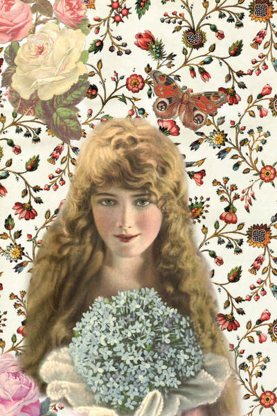 Photograph - Vintage Woman With Flowers by Peggy Collins