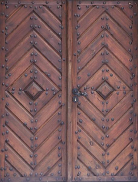 Material Photograph - Vintage Wooden Brown Door Close-up by Bogdan Khmelnytskyi