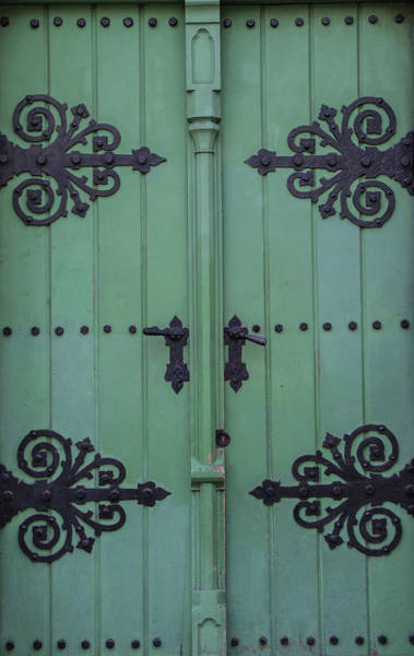 Green And Gray Photograph - Vintage Wooden Green Door Close-up by Bogdan Khmelnytskyi
