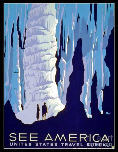 Caverns Photograph - Vintage Wpa Poster See America by Edward Fielding