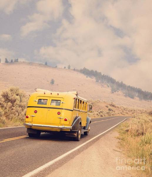 Touring Photograph - Vintage Yellowstone Bus by Edward Fielding