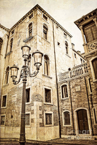 Lamppost Photograph - Vintage Venice  by Delphimages Photo Creations