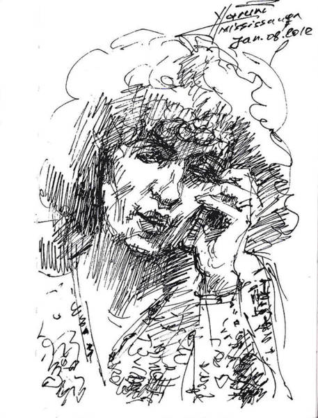 Lady Drawing - Viola On The Phone by Ylli Haruni