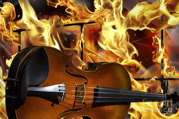 Photograph - Viola Violin In A Fire Background In Colors Gold Yellow 3074.02 by M K Miller