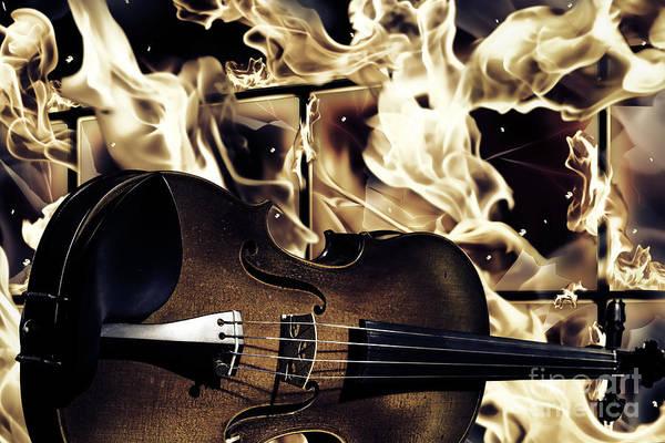 Photograph - Viola Violin In A Fire Background In Sepia 3074.01 by M K Miller