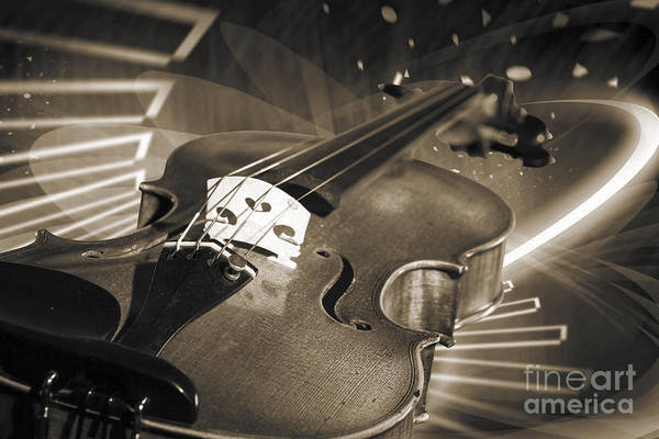 Photograph - Viola Violin On A Fantasy Background In Sepia 3070.01 by M K Miller