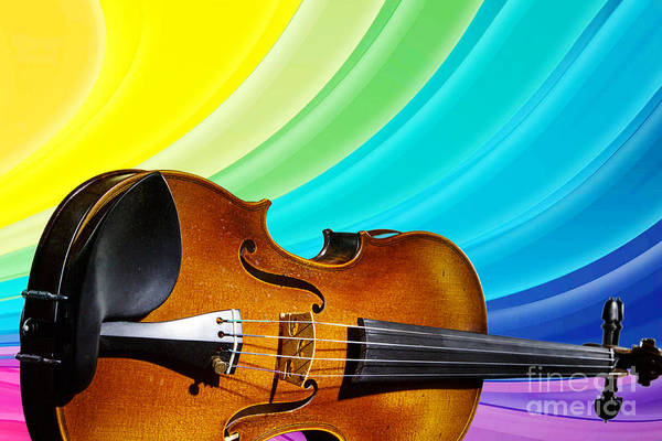 Photograph - Viola Violin On A Rainbow Background In Color 3071.02 by M K Miller