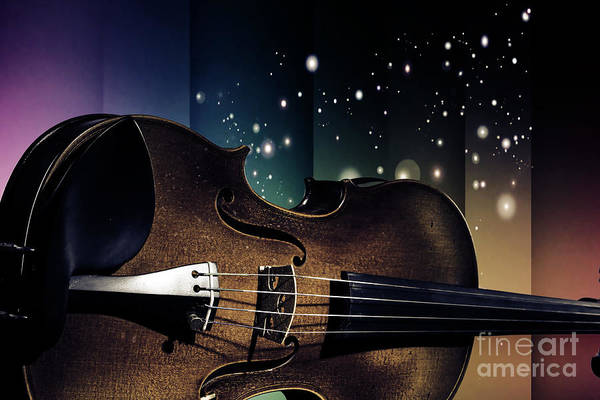 Photograph - Viola Violin On A Star And Rainbow Background In Antique Color 3 by M K Miller