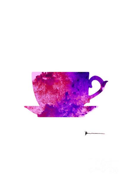 Violet Painting - Violet Cup Of Tea Silhouette Painting Watercolor Art Print by Joanna Szmerdt
