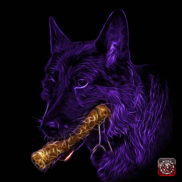 Digital Art - Violet German Shepherd And Toy - 0745 F by James Ahn