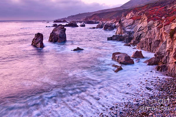 Monterey Bay Photograph - Violet Tides - Rocky Coast From Soberanes Point In Garrapata State  by Jamie Pham