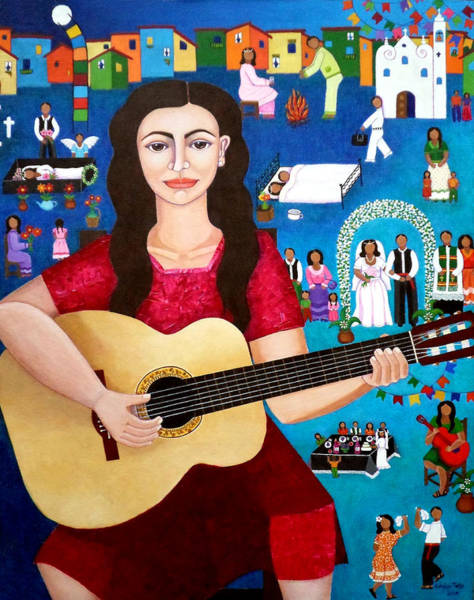 Painting - Violeta Parra And The Song Black Wedding II by Madalena Lobao-Tello