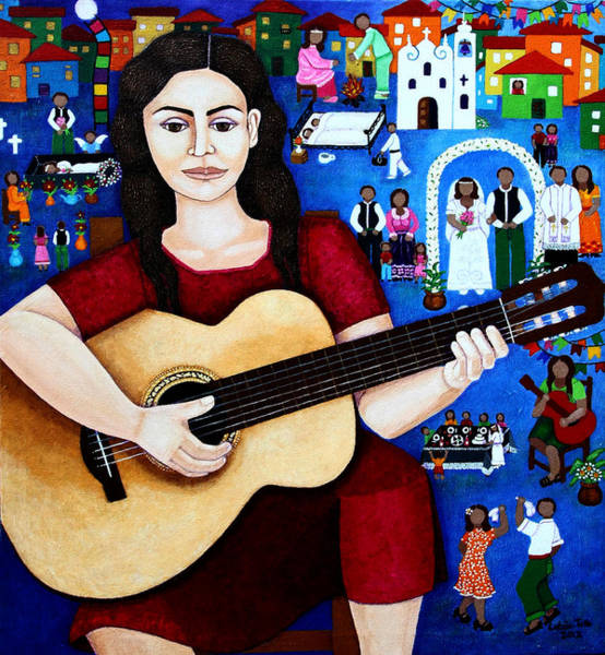 Painting - Violeta Parra And The Song Black Wedding by Madalena Lobao-Tello