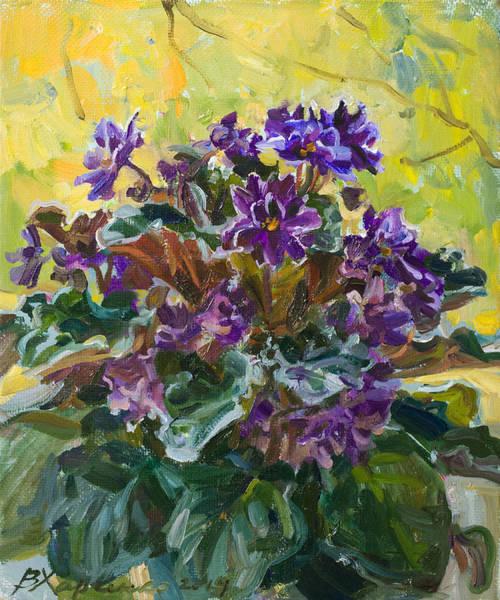 Violet Painting - Violets  Autumn by Victoria Kharchenko