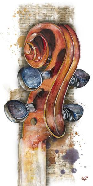 Wall Art - Painting - Violin 02 Elena Yakubovich by Elena Yakubovich