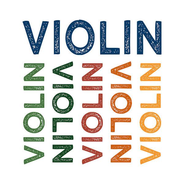 Violinist Wall Art - Digital Art - Violin Cute Colorful by Flo Karp