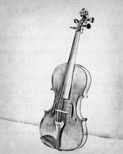 Violin Wall Art - Photograph - Violin In Black And White by Emily Kay