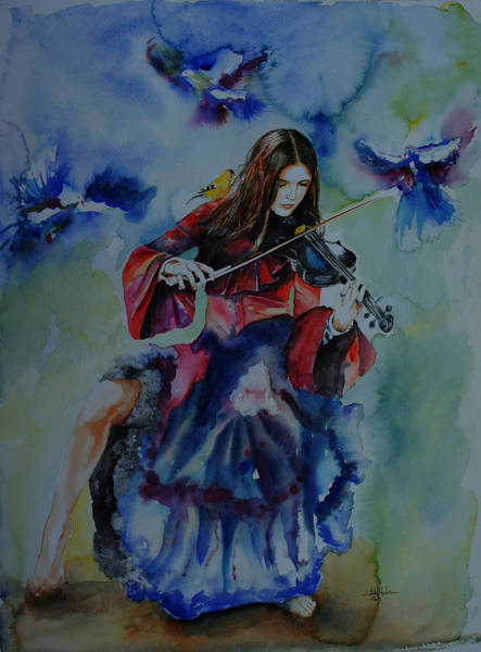 Surrealistic Painting - Violin Music For Birds by Isabel Salvador