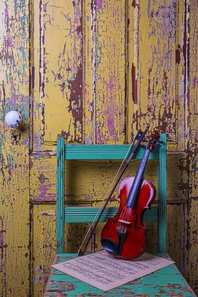 Doorknob Photograph - Violin On Worn Green Chair by Garry Gay