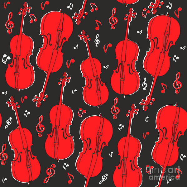 Decorative Digital Art - Violin Pattern by Subbery