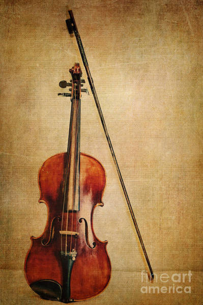 Violin Wall Art - Photograph - Violin With Bow by Emily Kay