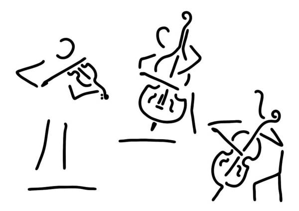 Trio Drawing - Violinist Cellist String Player Contrabass by Lineamentum