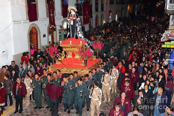 Photograph - Virgen Dolorosa Procession Cusco by James Brunker
