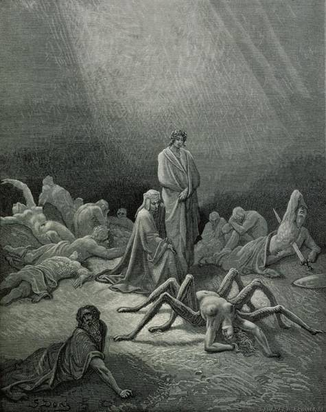 Male Figure Drawing - Virgil And Dante Looking At The Spider Woman, Illustration From The Divine Comedy by Gustave Dore