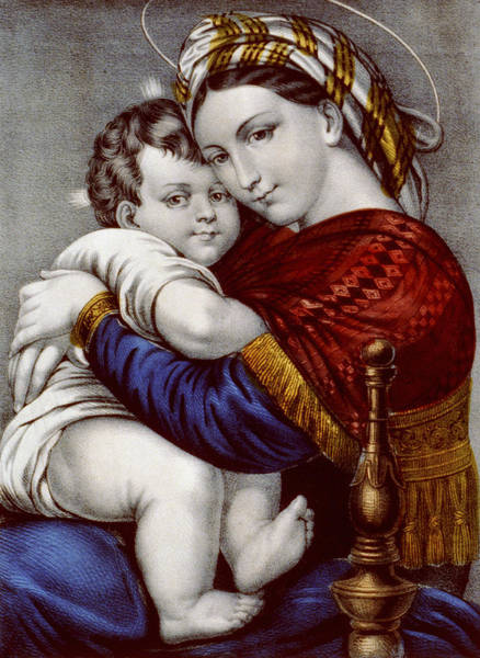 Wall Art - Painting - Virgin And Child Circa 1856  by Aged Pixel