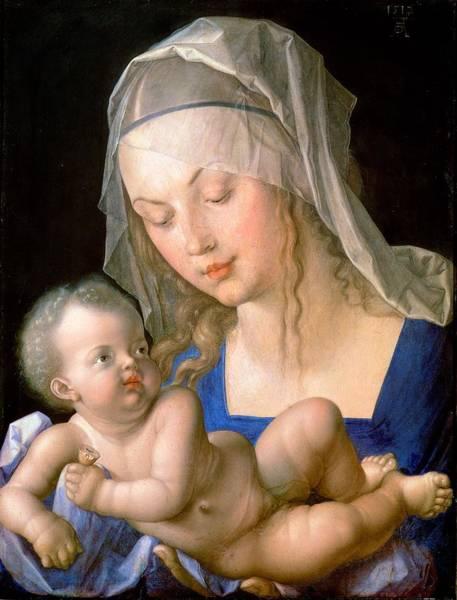 Albrecht Durer Wall Art - Painting - Virgin And Child Holding A Half-eaten Pear, 1512 by Albrecht Durer or Duerer
