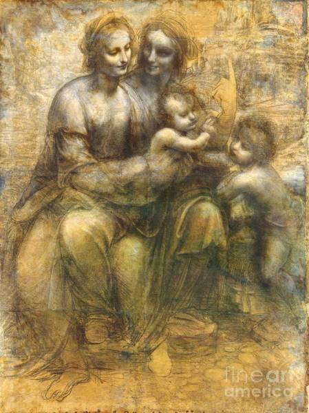 Saint Anne Painting - Virgin And Child With Saint Anne And John The Baptist by Pg Reproductions