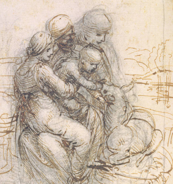Madonna Drawing - Virgin And Child With St. Anne by Leonardo da Vinci