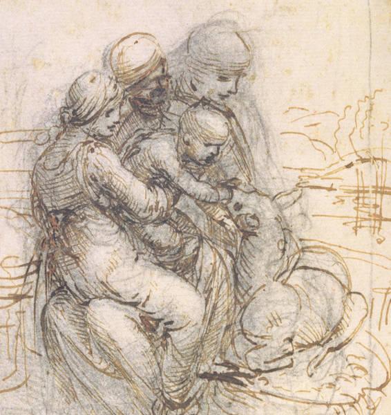 Jesus Drawing - Virgin And Child With St. Anne by Leonardo da Vinci