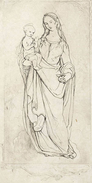 Wall Art - Drawing - Virgin Mary And The Christ Child, Theodoor Schaepkens by Theodoor Schaepkens