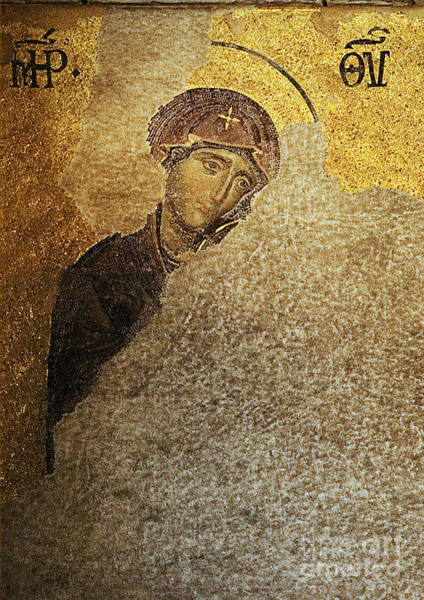 Virgin Mary-detail Of Deesis Mosaic  Hagia Sophia-day Of Judgement Art Print