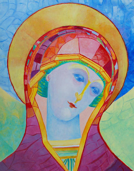 Pray For Love Wall Art - Painting - Our Lady Of The Rosary Catholic Art by Magdalena Walulik