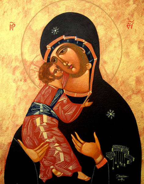 Greek Icon Painting - Virgin Of Vladimir by Joseph Malham