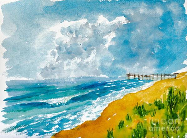Painting - Virginia Beach With Pier by Walt Brodis